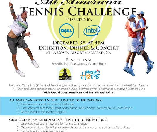 Geyser Holdings All American Tennis Challenge San Diego December 3rd 4pm