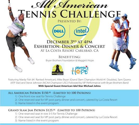 Geyser Holdings All American Tennis Challenge San Diego December 3rd 4pm